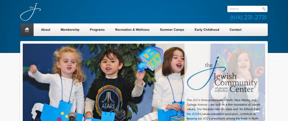 The Jewish Community Center of Greater Columbus website header